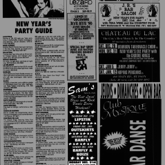 Flyer from the Montreal Mirror magazine for Boize's show at Sams's Rock Bar, Saint-Leonard, Canada on December 30th 1990 with Barfly and on December 31st 1990 with Red Tape.