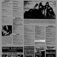 Listing from the Montreal Mirror magazine for Boize's show at Sams's Rock Bar, Saint-Leonard, Canada on May 18th 1991.