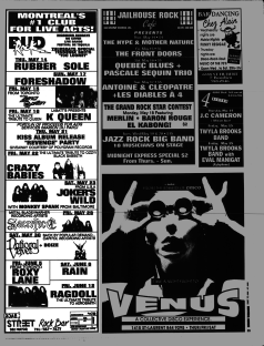 Flyer from the Montreal Mirror magazine for Boize's show at the Backstreet, Montreal, Canada with National Velvet on May 30th 1992.