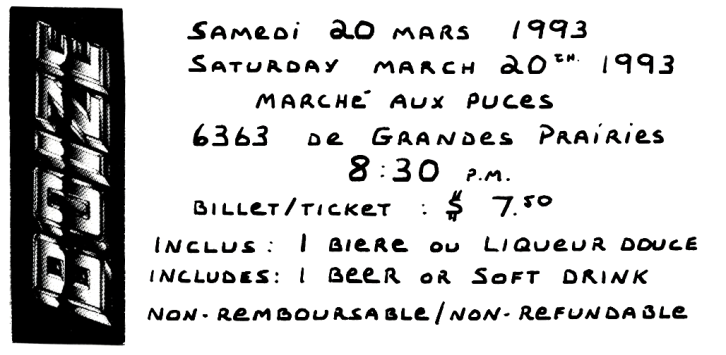 Ticket stub of Boize's March 20th 1993 show at Place Bert.