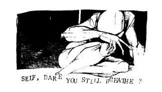 """Bird of Ill Omen """"Self, Dare You Still Breathe?"""" t-shirt design, circa 1997"""