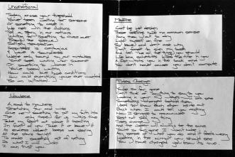 June 1998 demo insert featuring Al's handwritten lyrics