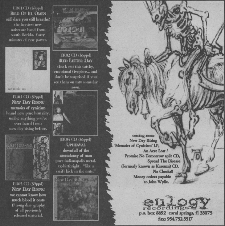 Eulogy Recordings ad from a 1998 issue of the HeartattaCk fanzine.