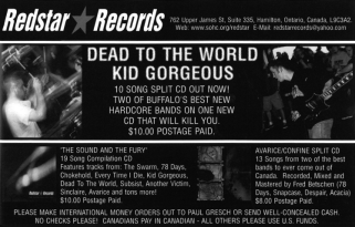 Flyer advertising RSR005, Dead to the World & Kid Gorgeous split