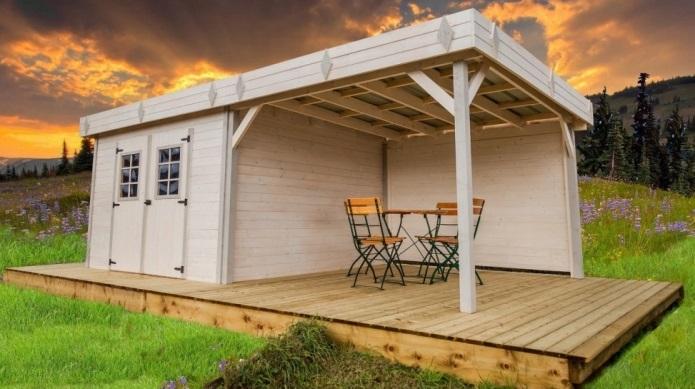 abri de jardin bois monopente kemper avec pergola 7x4m 28mm