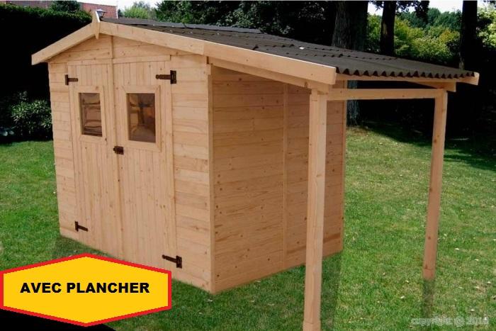 abri jardin bois bucher 3 48x1 87m 6 50m2 avec plancher