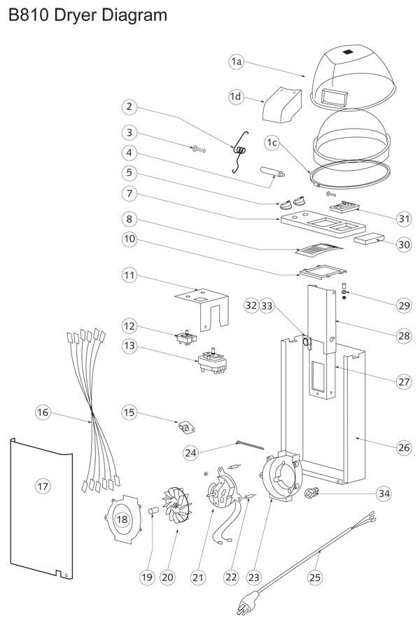 B10 Dryer Parts & Diagram for Belvedere Hair Dryer