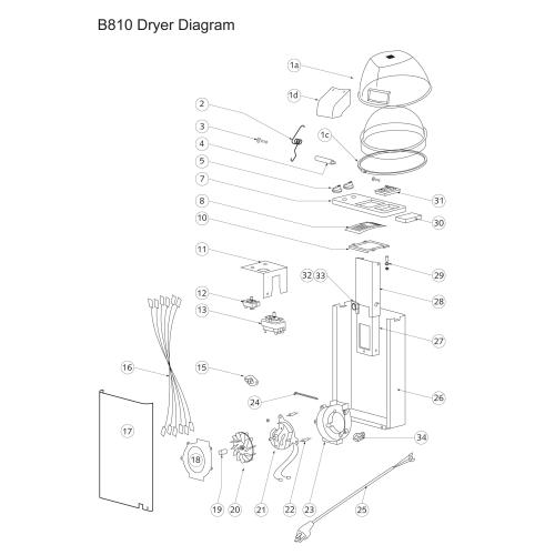 B10 Dryer Parts & Diagram for Belvedere Hair Dryer