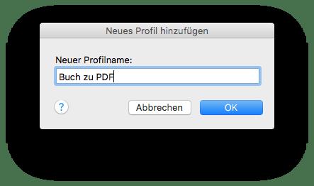 ScanScap Profilname wählen