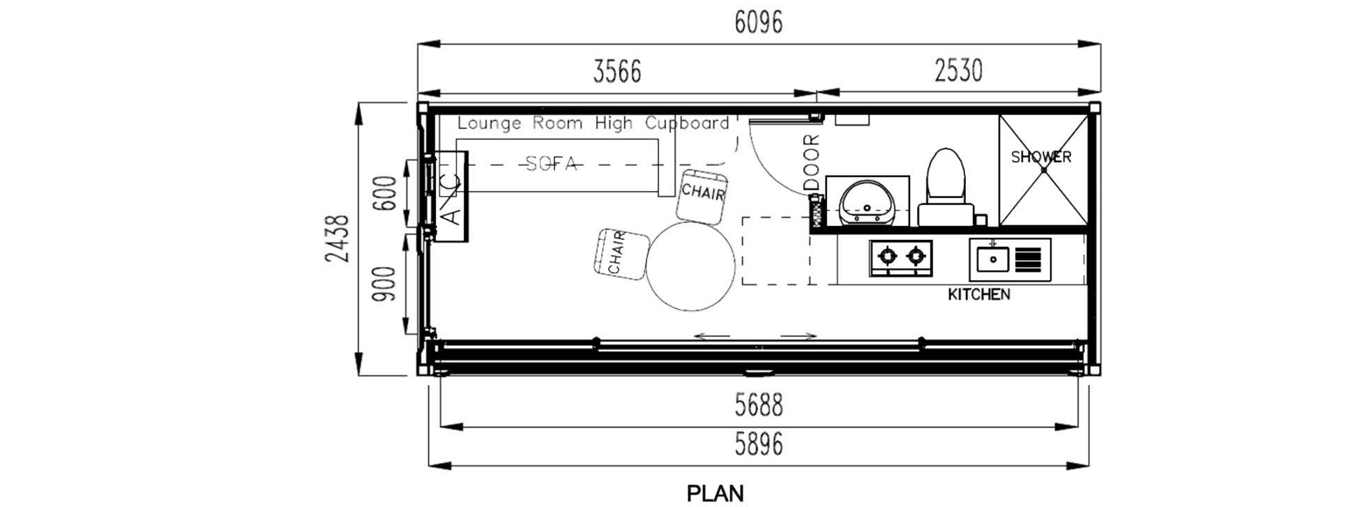 c019-20ft, kitchen, bed, bathroom unit with full fold out
