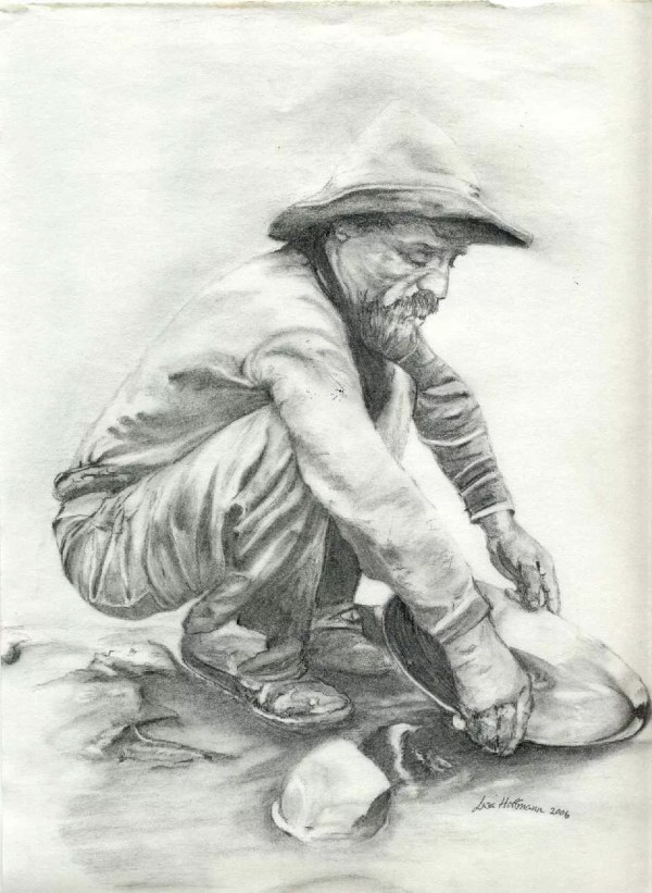 Lisa Hoffmann Artwork Gold Panning Original Drawing