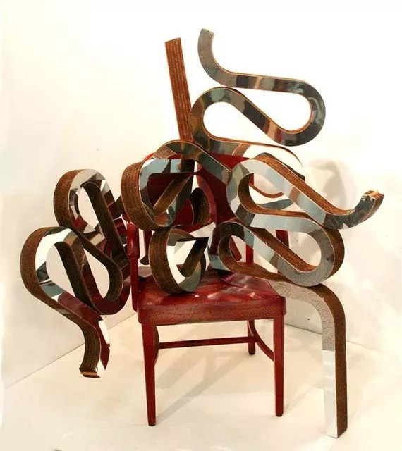 frank gehry chair pads with ties ben perrone artwork sculpture original 2009