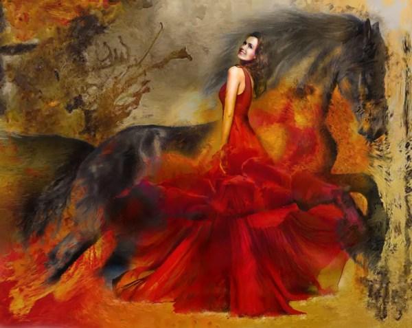 David Smith Artwork Red Dress Original Digital Painting