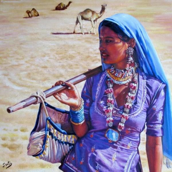Santiago Carralero Artwork Gypsy Woman Of Thar Desert