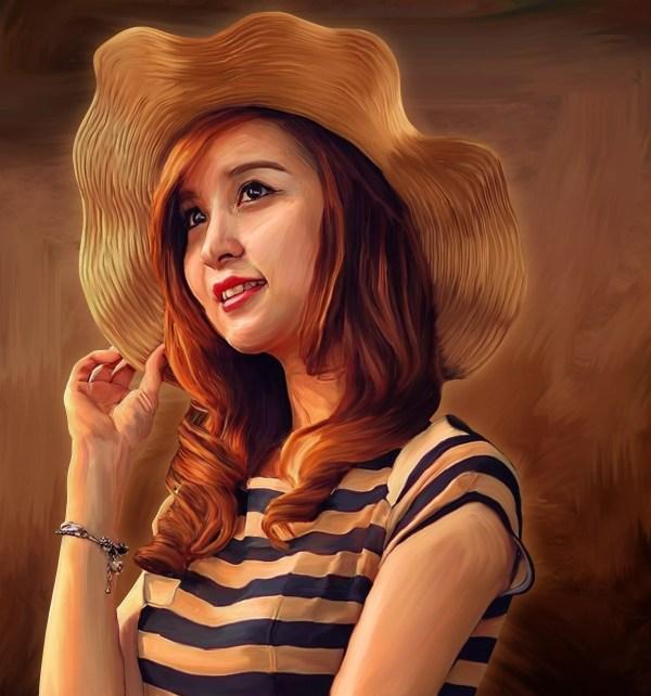 Faruki Vackoth Artwork Beautiful Woman Painting Original Digital Abstract Art