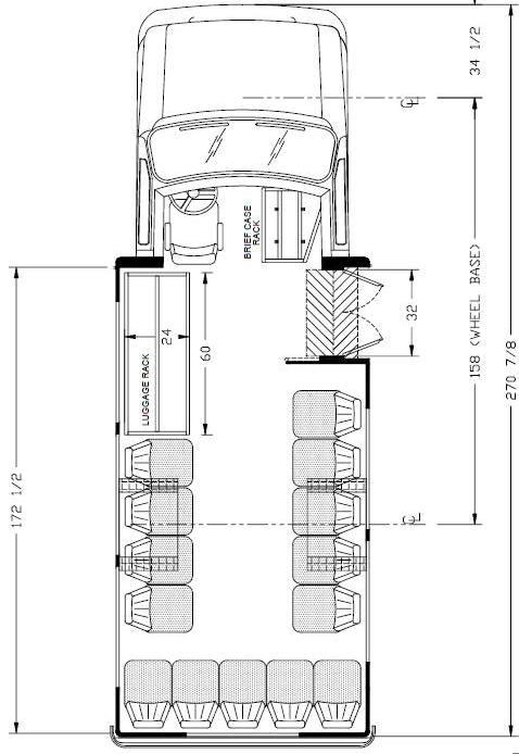 Ameritrans 225 Shuttle Bus Floorplans, perimeter seating