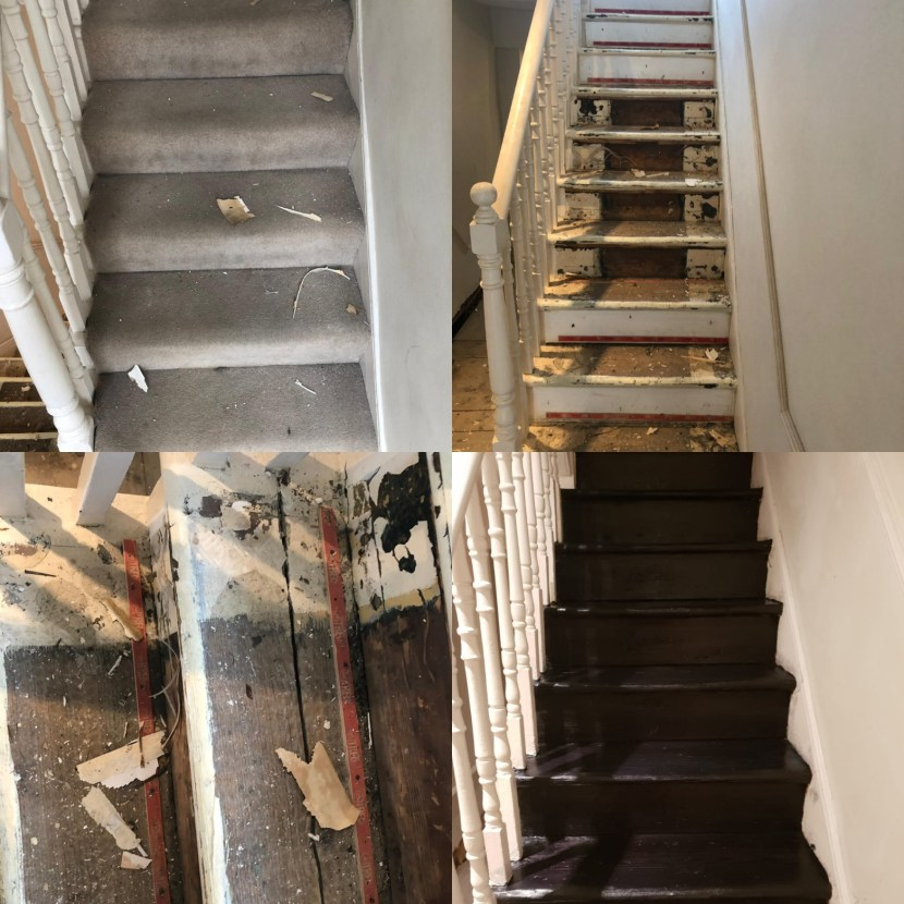 Ebony stair floor sanding