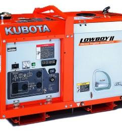 kubota lowboy ii compact quiet diesel generator gl7000 7 kw standby 6 5 kw prime single phase 120 240 volt liquid cooled [ 1604 x 1185 Pixel ]