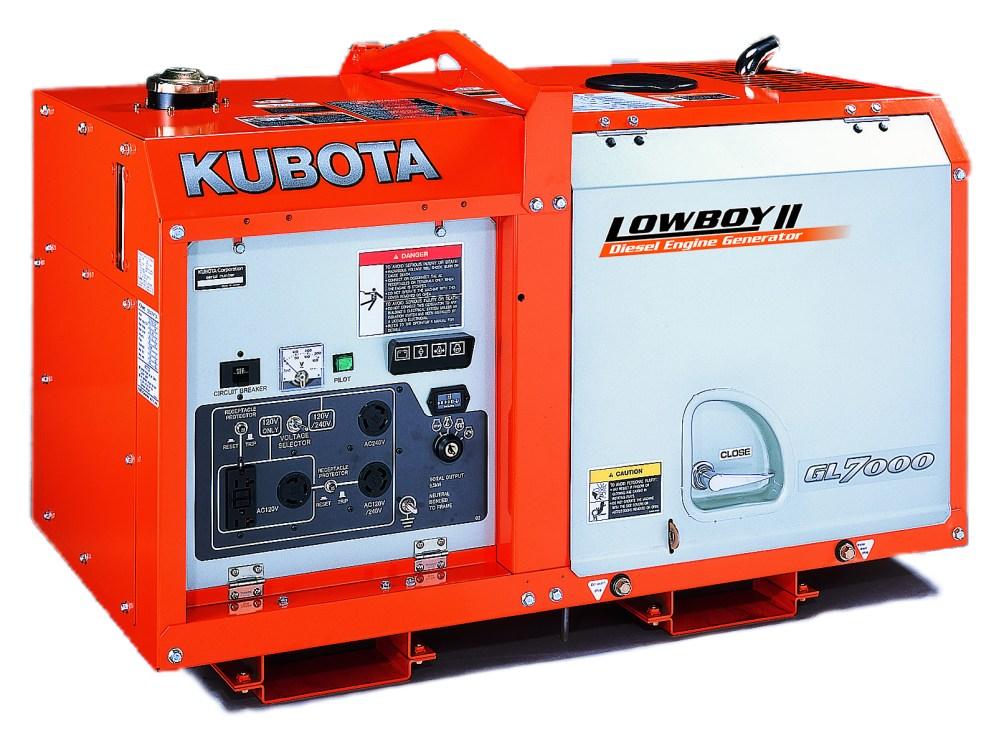 medium resolution of kubota lowboy ii compact quiet diesel generator gl7000 7 kw standby 6 5 kw prime single phase 120 240 volt liquid cooled