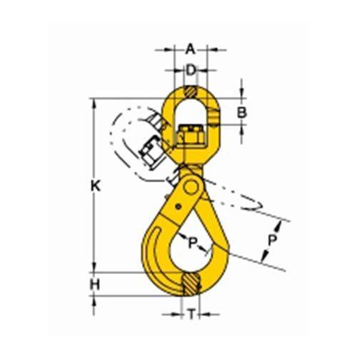 Grade 80 Eye Swivel Latchlok Hook with Ball Bearing_drawing