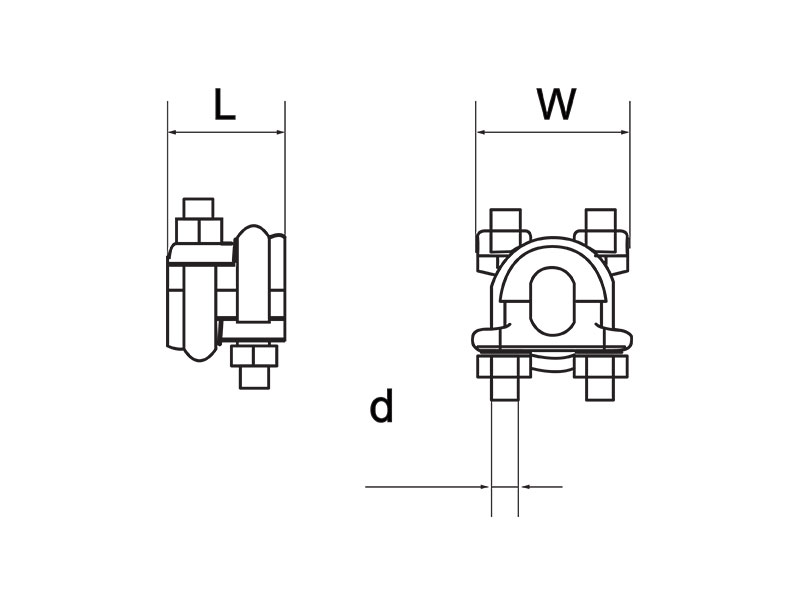 Wire Rope Fitting Double throated rope grips drawing