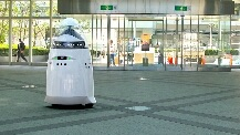 Autonomous K5 security robot patrols a California business; will someday replace human guards