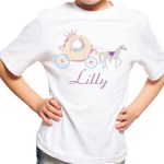 Personalised Girls Princess Horse And Carriage Tshirt Kids Riding T Shirt Fairy Ebay