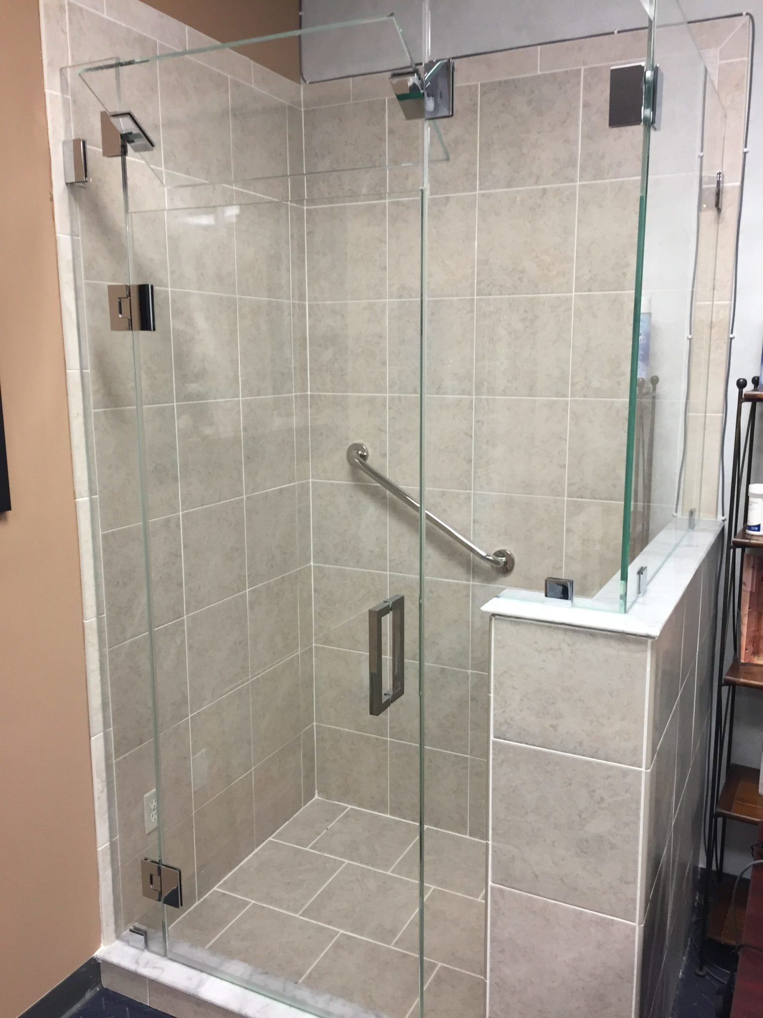 Frameless Shower Door with Opening Transom & Frameless Shower Door with Opening Transom - Absolute Shower Doors