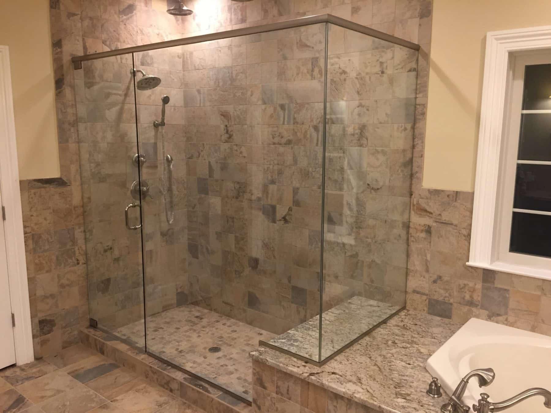 Frameless Shower Corner Enclosure with Header, Notched for Tub Deck ...