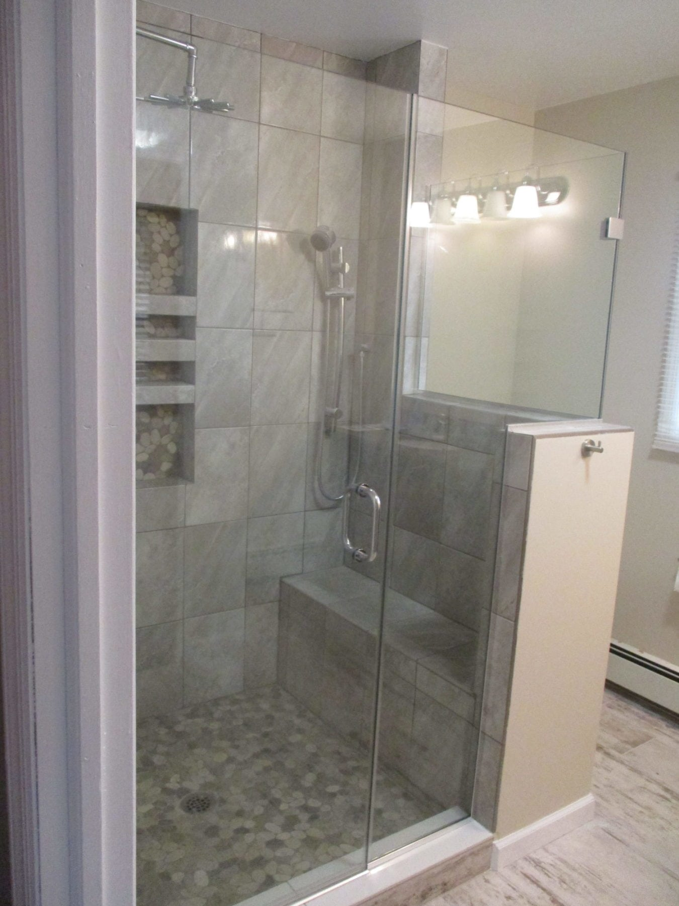 Frameless Shower Enclosure with Bench, ½ Wall, and Return Wall (2 ...