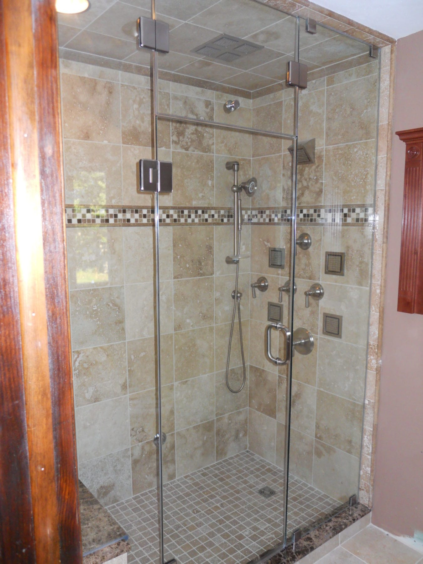 Frameless Shower Steam Enclosure With Transom Panel And