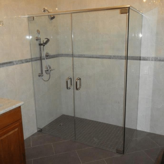 Shower Enclosure With French Doors And Header Absolute Shower Doors