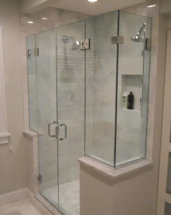 Pleasing Frameless Shower Enclosure With French Doors And Buttress Walls Download Free Architecture Designs Scobabritishbridgeorg