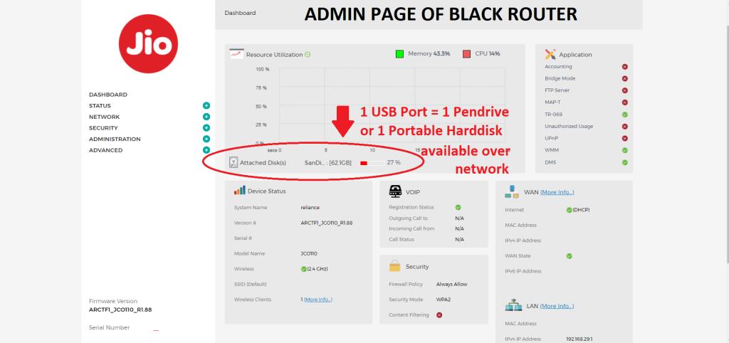 Black Jio FIber Gateway: Admin Page