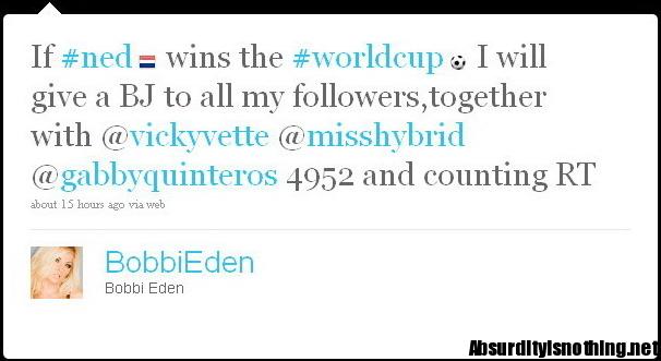 Bobbi Eden promette P****ni a tutti