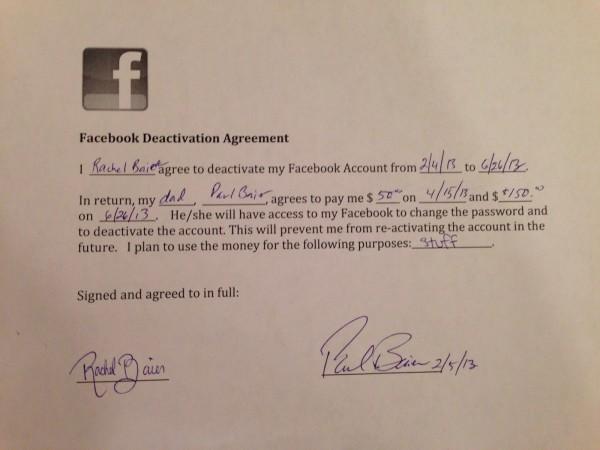 Paga la figlia per disattivare l'account Facebook