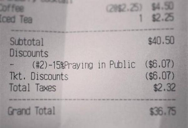 Sconto preghiere in ristorante