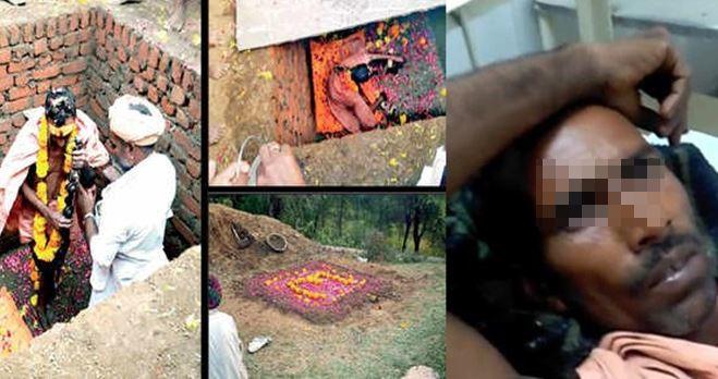 Uomo indiano si autoseppellisce per diventare un Dio