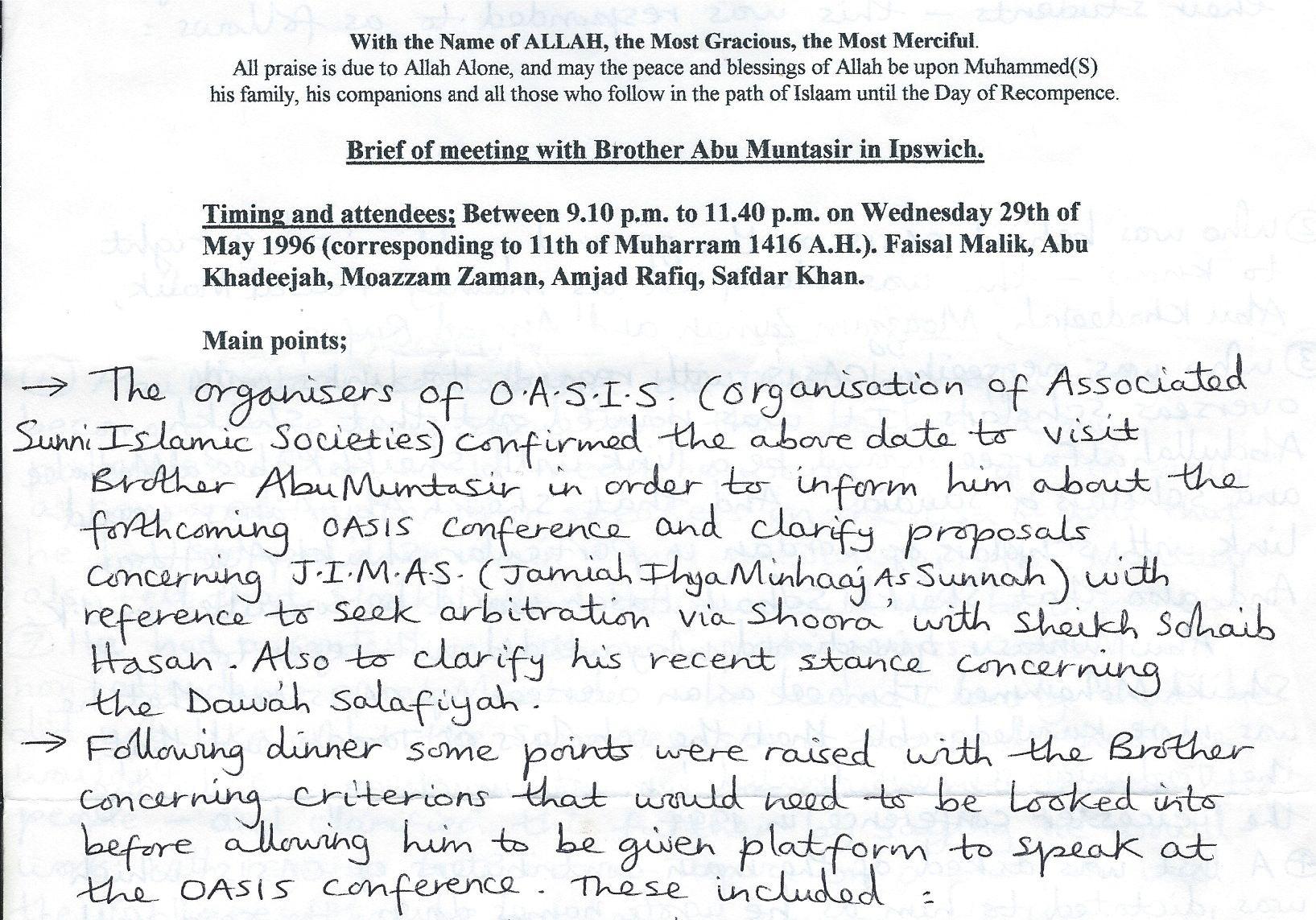 Meeting with Abu Muntasir Minutes