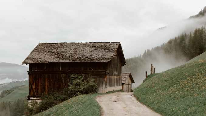 rural houses on mountain slope