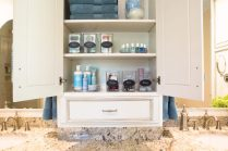 Organized Beauty Products in Bathroom