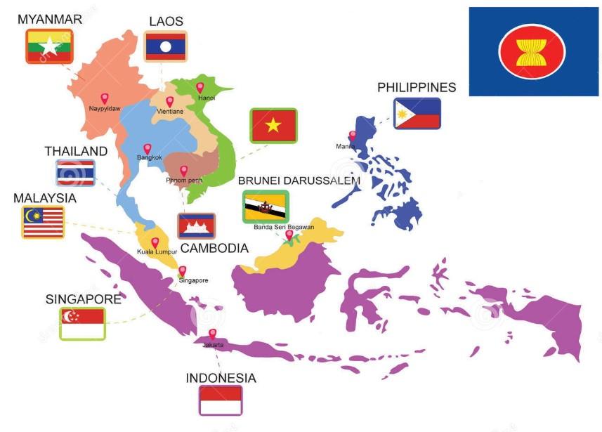 Gambar peta buta hitam putih indonesia batas luas wilayah profil negara indonesia nama. Peta Asean Hd Negara Negara Asean Gambar Asia Tenggara Lengkap The Book