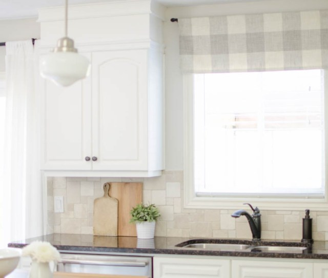 A Window Valance Made From Neutral Buffalo Check Fabric Compliments This Simple Farmhouse Kitchen Perfectly