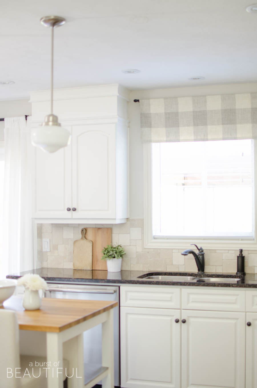 valances for kitchen amish cabinets farmhouse window valance tutorial a burst of beautiful made from neutral buffalo check fabric compliments this simple perfectly