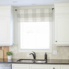 Kitchen Window Valance Reface Farmhouse Tutorial A Burst Of Beautiful Made From Neutral Buffalo Check Fabric Compliments This Simple Perfectly