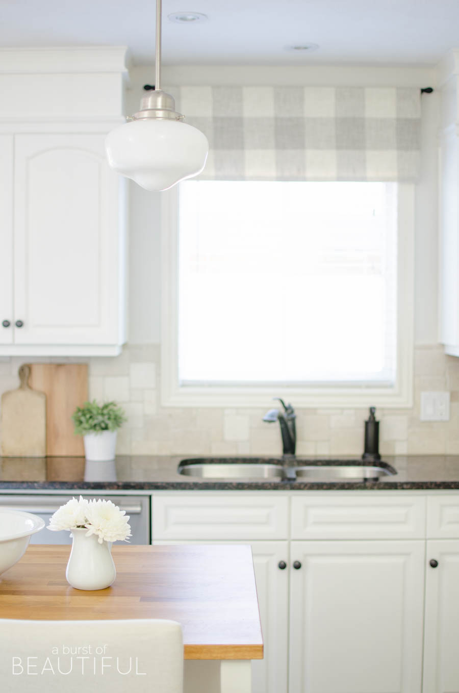 kitchen valance hood designs kitchens farmhouse window tutorial a burst of beautiful made from neutral buffalo check fabric compliments this simple perfectly