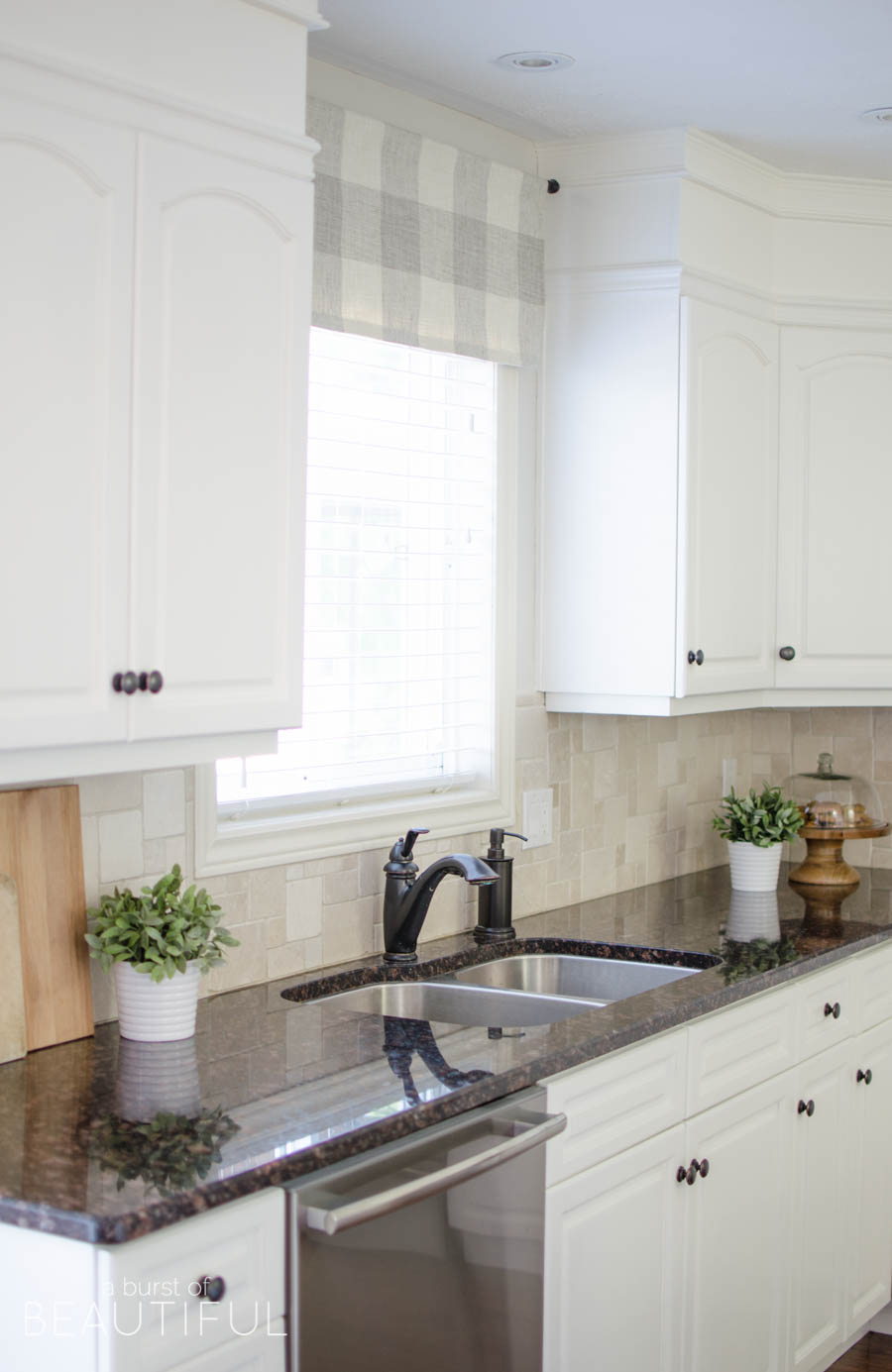 kitchen window valance buy old cabinets farmhouse tutorial a burst of beautiful made from neutral buffalo check fabric compliments this simple perfectly