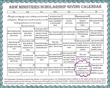 Giving for Scholarship Day 31 at American Baptist Women's Ministries of NYS