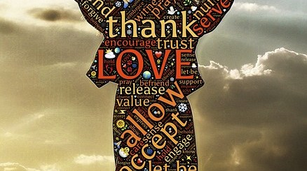 image filled with words such as Thank, Love, Grateful with the words encased in the shape of a woman