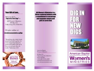 picture of the tri-fold brochure to be downloaded for the Dig In for New Digs campaign